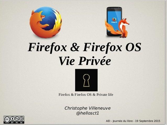 AEI - Journée du libre - 19 Septembre 2015 Firefox & Firefox OS Vie Privée AEI - Journée du libre - 19 Septembre 2015 Chri...