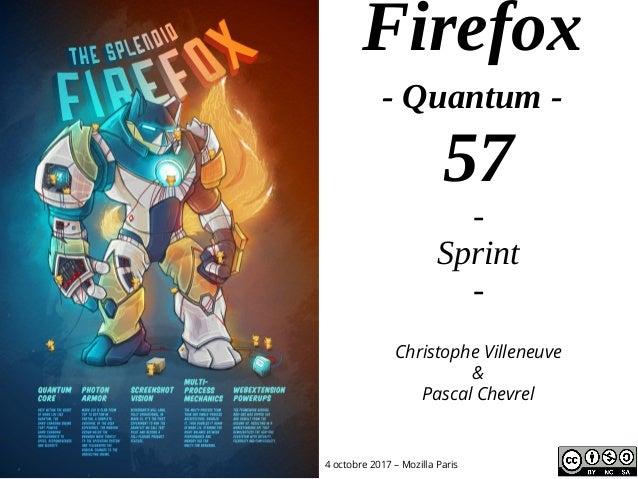 Firefox - Quantum - 57 - Sprint - 4 octobre 2017 – Mozilla Paris Christophe Villeneuve & Pascal Chevrel