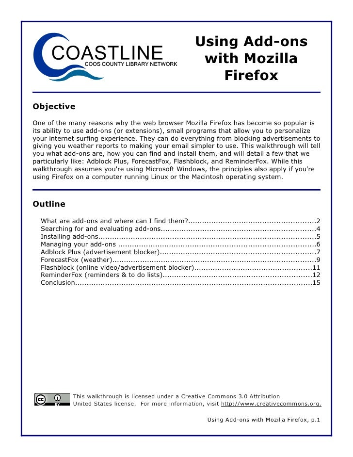 Using Add-ons                                                                  with Mozilla                               ...