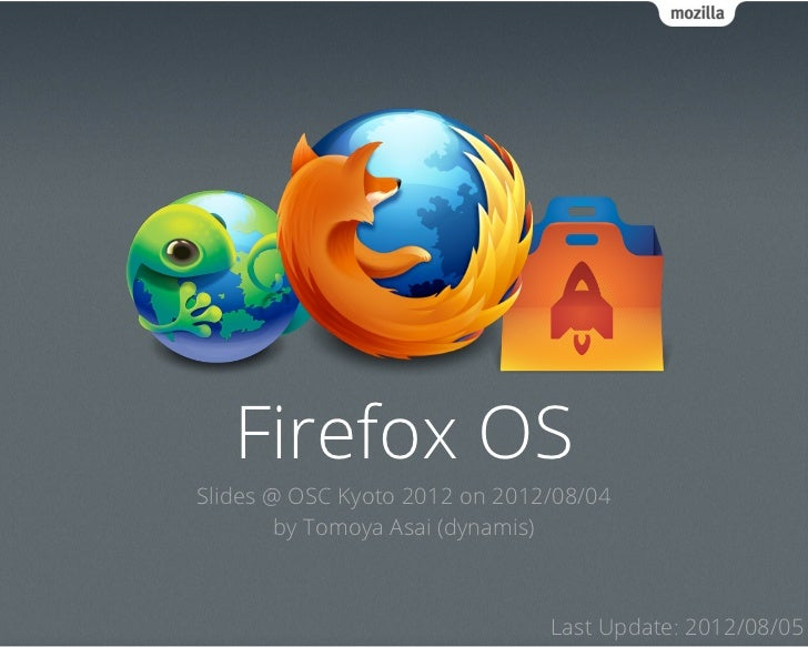 Firefox OSSlides @ OSC Kyoto 2012 on 2012/08/04        by Tomoya Asai (dynamis)                               Last Update:...
