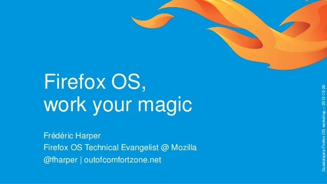 Frédéric Harper Firefox OS Technical Evangelist @ Mozilla @fharper | outofcomfortzone.net  Guadalajara Firefox OS workshop...