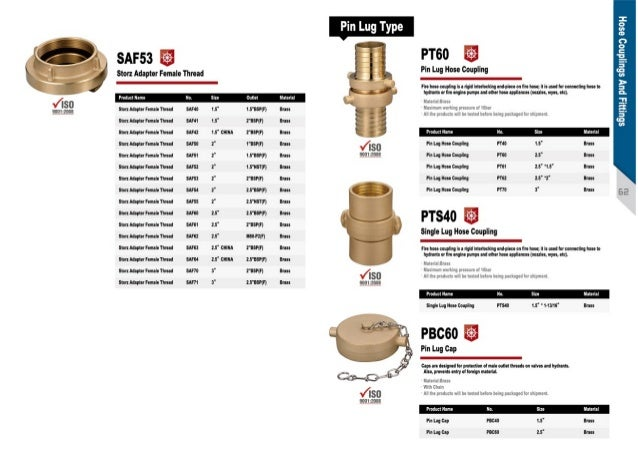 ... 9. Pin Lug Type PT60 Pin Lug Hose Coupling ...  sc 1 st  SlideShare & Fire hose coupling