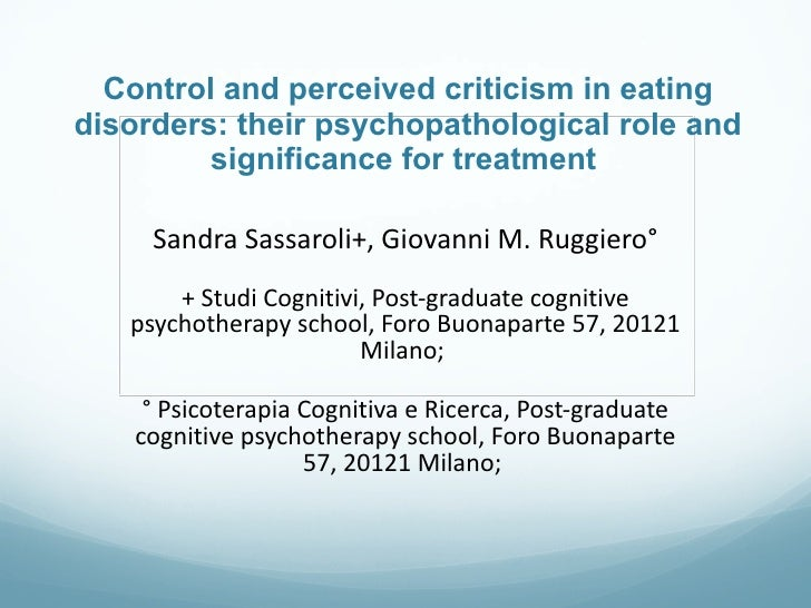 Control and perceived criticism in eating disorders: their psychopathological role and significance for treatment  Sandra ...