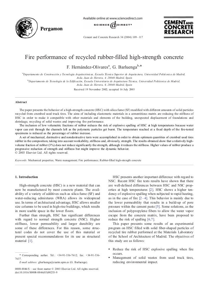 Cement and Concrete Research 34 (2004) 109 – 117          Fire performance of recycled rubber-filled high-strength concret...