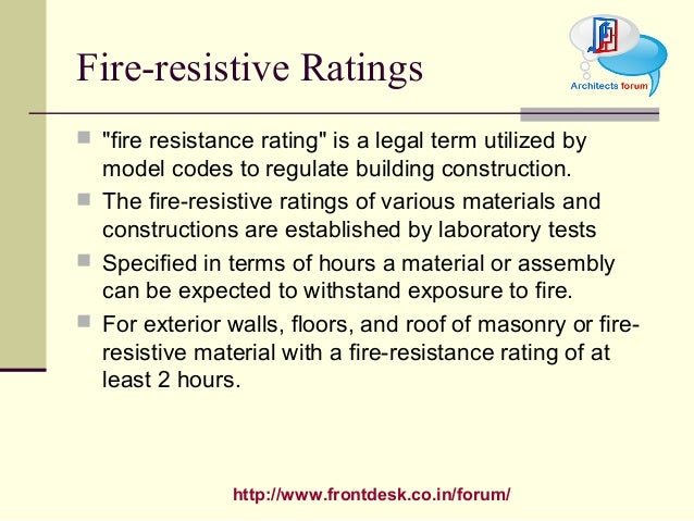 Fire Resistance Rating : Fire proof finish