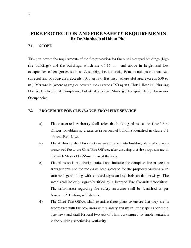 Fire Protection And Fire Safety Requirements By Drhboob Ali Khan P