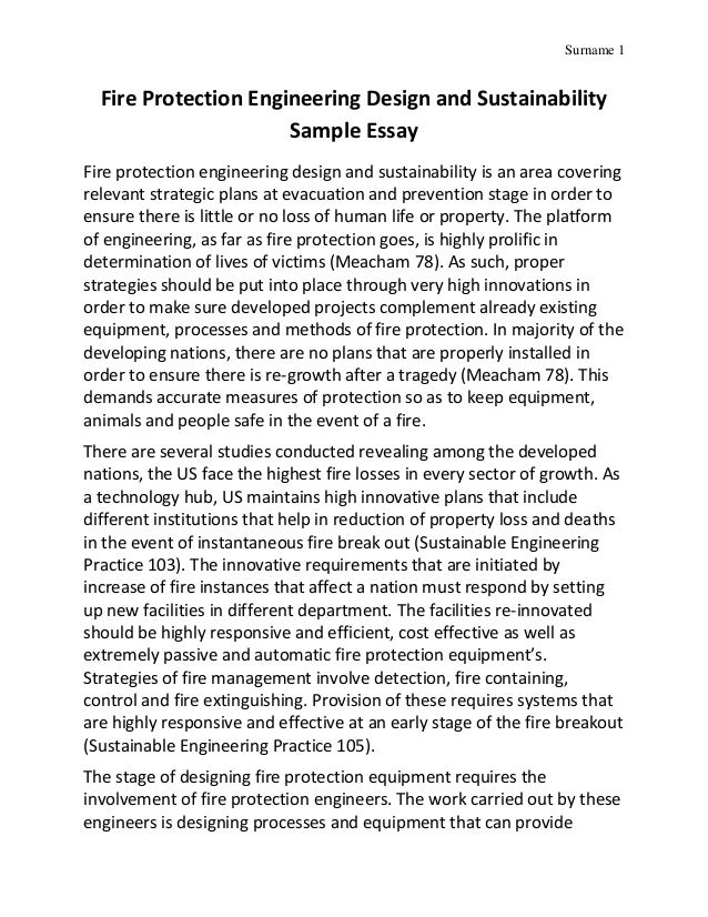 Fire protection engineering design and sustainability