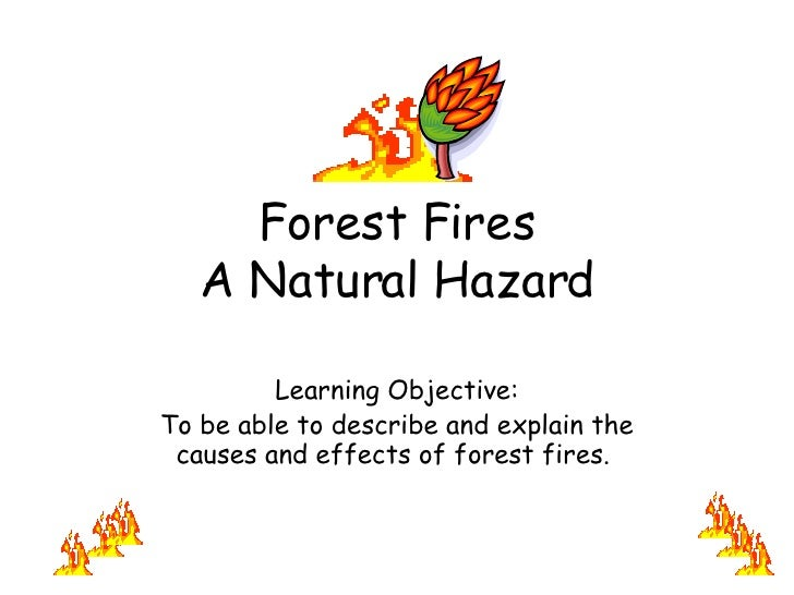 Forest Fires A Natural Hazard Learning Objective: To be able to describe and explain the causes and effects of forest fire...