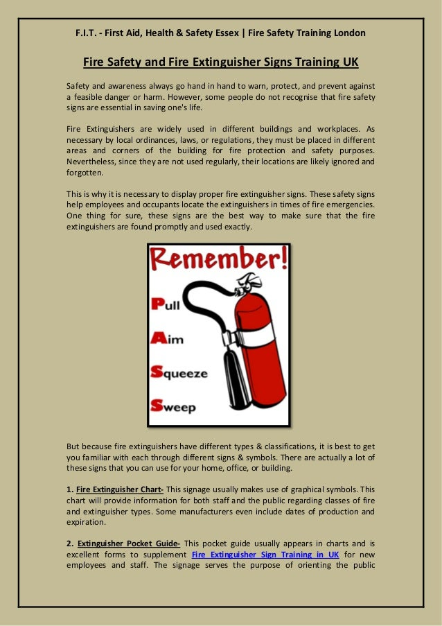 F.I.T. - First Aid, Health & Safety Essex | Fire Safety Training London  Fire Safety and Extinguisher Signs Training UK  S...
