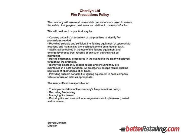Fire safety information pack - Steve Denham's Cherilyn Stores