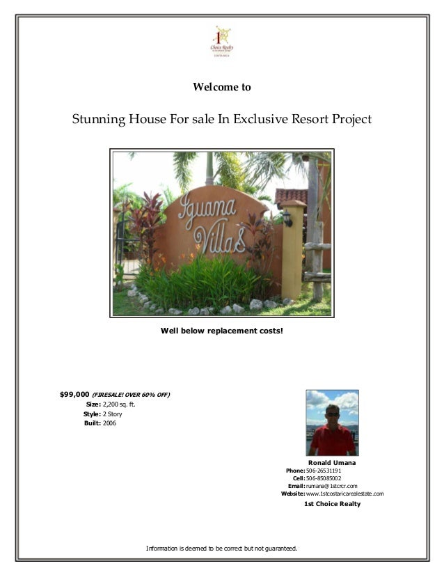 Welcome to   Stunning House For sale In Exclusive Resort Project                                  Well below replacement c...