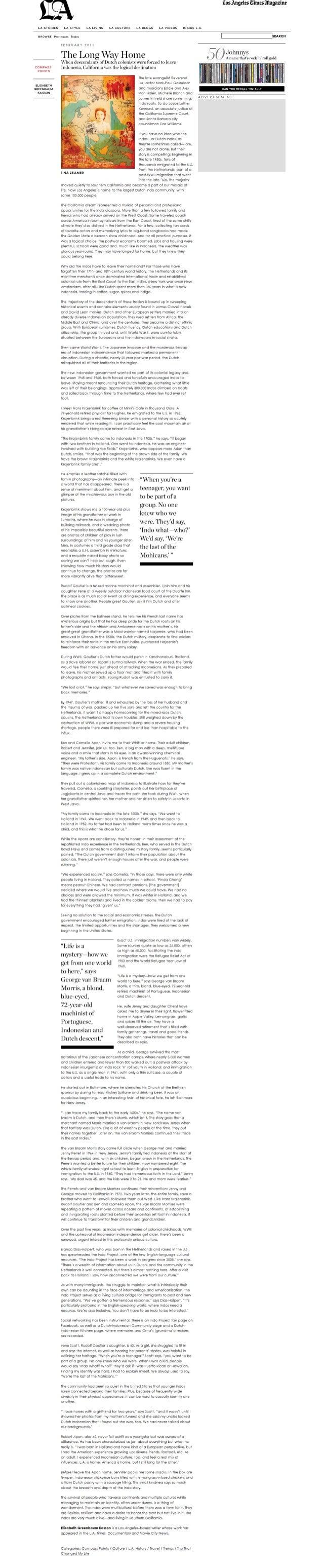 LA STORIES LA STYLE LA LIVING LA CULTURE LA BLOGS LA VIDEOS INSIDE L. A.  snows:  Pm Issues Topic:  SEARCH  FEBRUARY 2011 ...