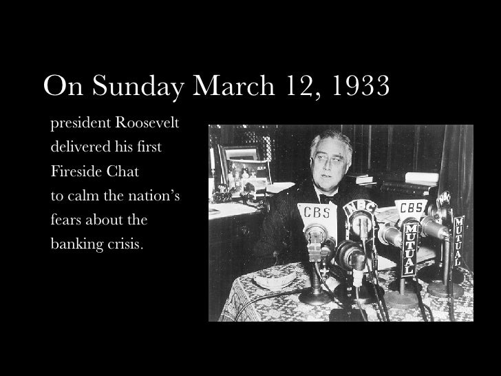 Image result for fdr first fireside chat
