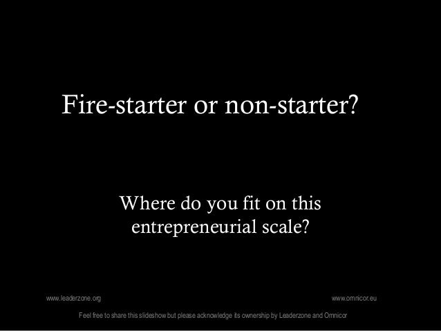 Fire-starter or non-starter?                        Where do you fit on this                         entrepreneurial scale...