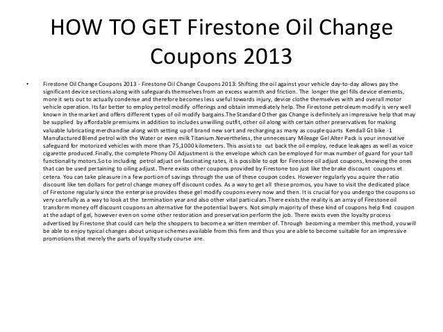 Firestone Oil Change Coupons 2013 Printable Firestone Oil Change Co