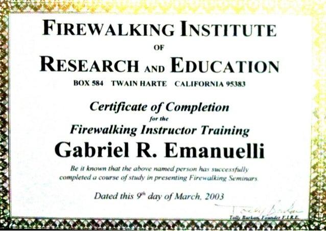 Firewalking instructor certificate