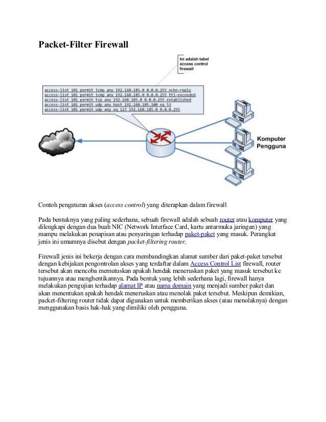 Packet-Filter FirewallContoh pengaturan akses (access control) yang diterapkan dalam firewallPada bentuknya yang paling se...