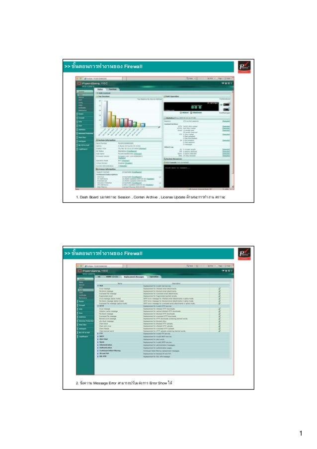1 1. Dash Board บอกสถานะ Session , Conten Archive , License Update ลักษณะการทํางาน สถานะ >> ขั้นตอนการทํางานของ Firewall 2...