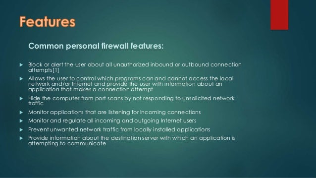 Personal or software firewall