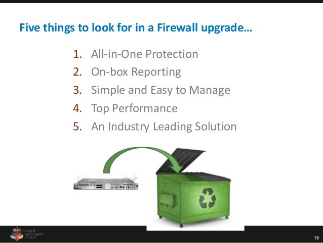 19 Five things to look for in a Firewall upgrade… 1. All-in-One Protection 2. On-box Reporting 3. Simple and Easy to Manag...