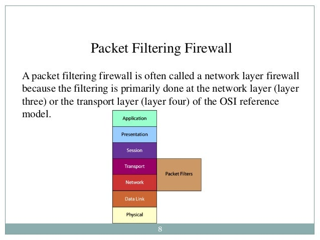 8 Packet Filtering Firewall A packet filtering firewall is often called a network layer firewall because the filtering is ...