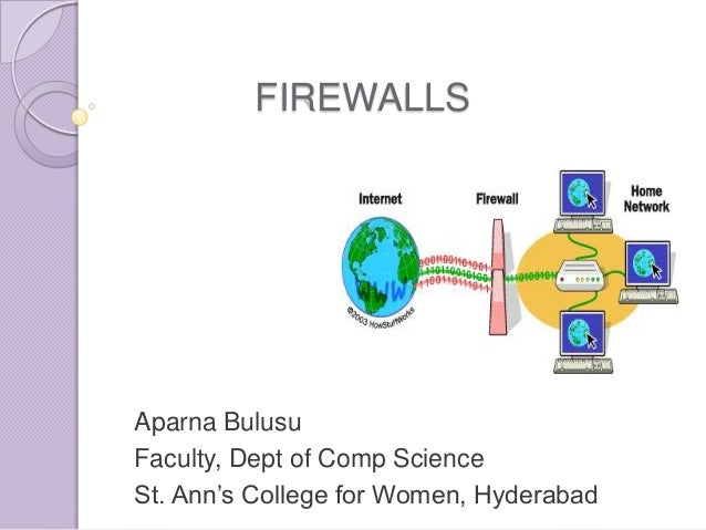 FIREWALLS  Aparna Bulusu Faculty, Dept of Comp Science St. Ann's College for Women, Hyderabad
