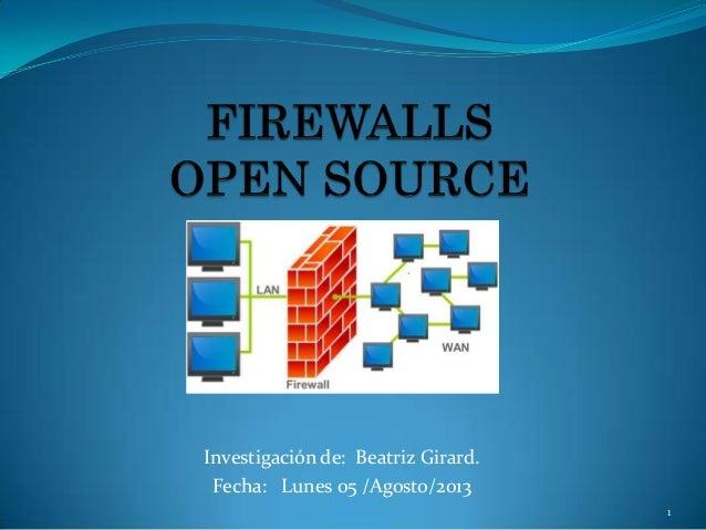 Investigación de: Beatriz Girard. Fecha: Lunes 05 /Agosto/2013 Firewall por Software comercial 1