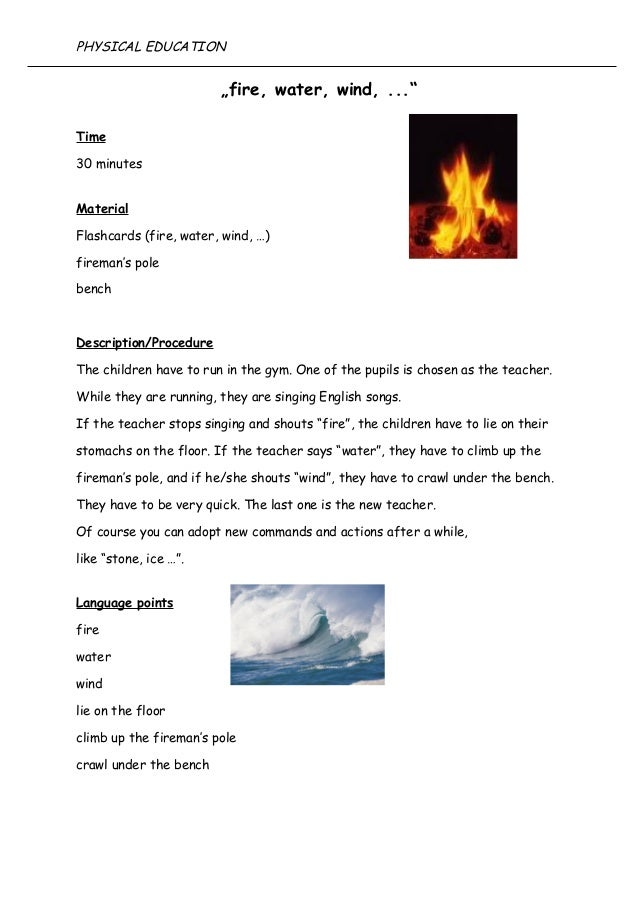 """fire, water, wind, ..."" Time 30 minutes Material Flashcards (fire, water, wind, …) fireman's pole bench Description/Proce..."