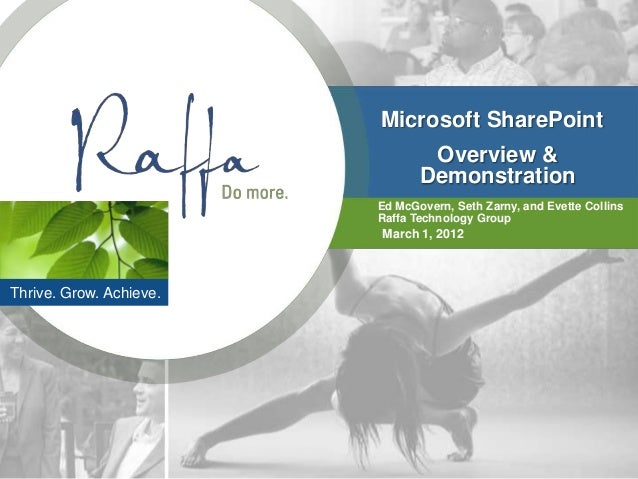 Microsoft SharePoint                                 Overview &                                Demonstration              ...