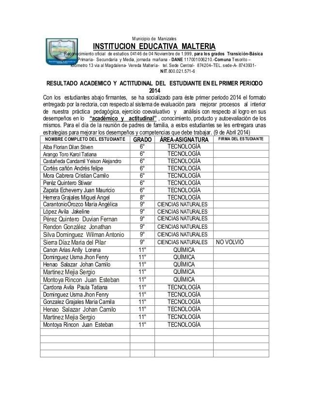 Municipio de Manizales INSTITUCION EDUCATIVA MALTERIA Reconocimiento oficial de estudios 04146 de 04 Noviembre de 1.999, p...