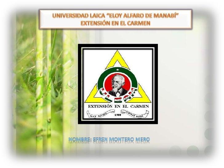 """UNIVERSIDAD LAICA """"ELOY ALFARO DE MANABÍ""""<br />EXTENSIÓN EN EL CARMEN<br />NOMBRE: EFREN MONTERO MERO <br />"""