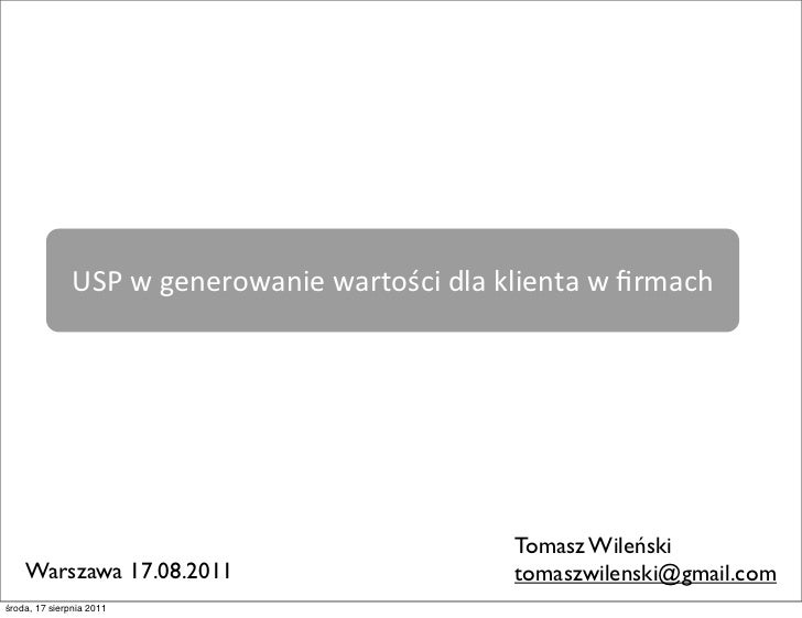 USP w generowanie wartości dla klienta w firmach                                                             ...