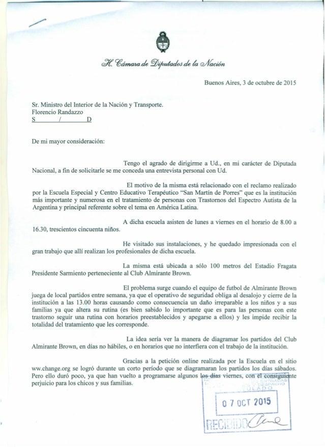 t / Buenos Aires, 3 de octubre de 2015 <ffí. cgÓlmaltade §fi~ de la wYa@n Sr. Ministro del Interior de la Nación y Transpo...