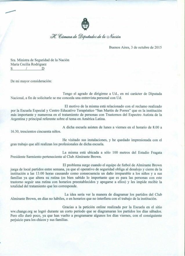 Buenos Aires, 3 de octubre de 2015 ~ td/í. cgónuuade~~de kt wfíadón Sra. Ministra de Seguridad de la Nación María Cecilia ...