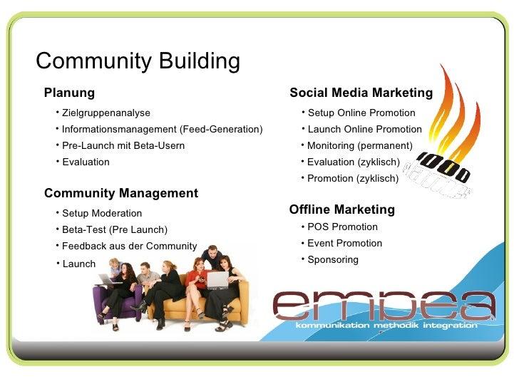 Community Building Planung <ul><li>Zielgruppenanalyse </li></ul><ul><li>Informationsmanagement (Feed-Generation) </li></ul...