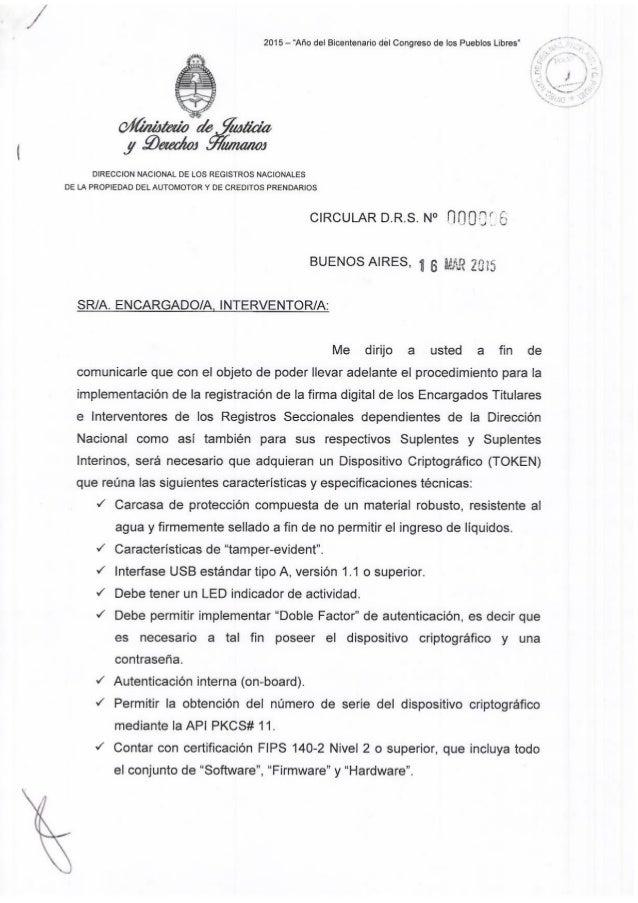 """2015 — """"Año del Bicentenario del Congreso de los Pueblos Libres""""     DIRECCION NACIONAL DE LOS REGISTROS NACIONALES DE LA ..."""