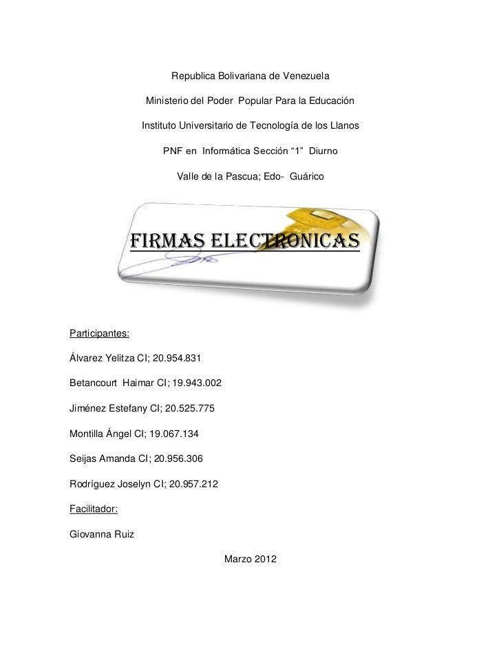 Republica Bolivariana de Venezuela                  Ministerio del Poder Popular Para la Educación                 Institu...
