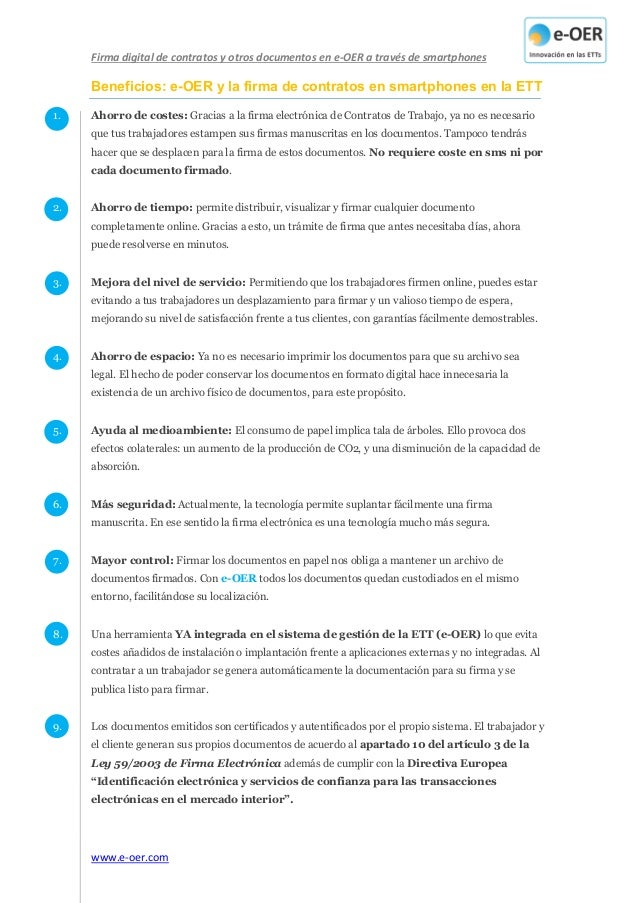 Firma digital de contratos y otros documentos en e-OER a través de smartphones www.e-oer.com Beneficios: e-OER y la firma ...