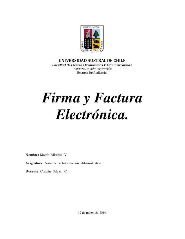 UNIVERSIDAD AUSTRAL DE CHILE Facultad De Ciencias Económicas Y Administrativas Instituto De Administración Escuela De Audi...