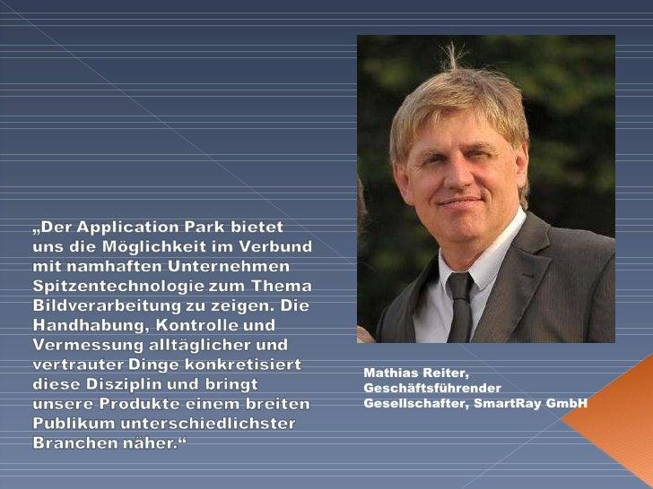 Mathias Reiter, Geschäftsführender Gesellschafter, SmartRay GmbH