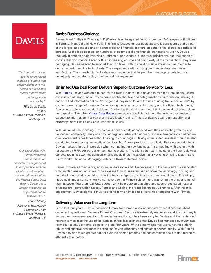 CUSTOMER SUCCESS                                Davies Business Challenge                                Davies Ward Phill...