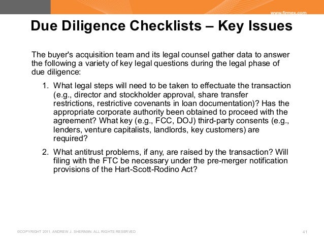 Due diligence best practices and pitfalls for Legal due diligence report template