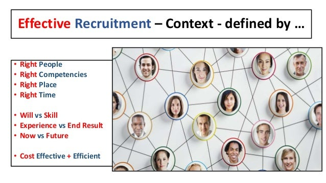 Effective Recruitment – Context - defined by … • Right People • Right Competencies • Right Place • Right Time • Will vs Sk...
