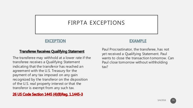 FIRPTA: Foreign Investment in Real Property Tax Act