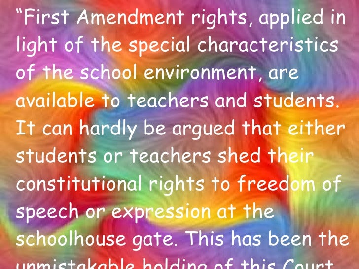 the 1st amendment in schools The first amendment and public schools can a high school athlete take a knee  during the national anthem can teachers participate in.