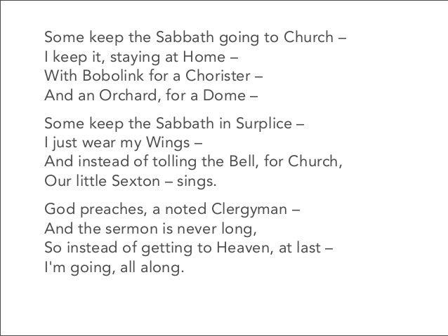 some keep the sabbath going to church poem analysis