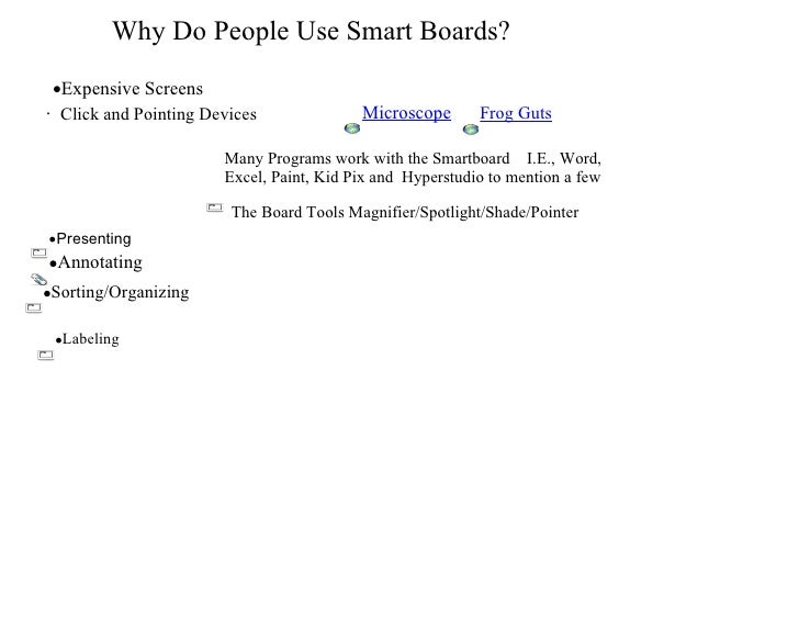 Why Do People Use Smart Boards? <ul><li>Expensive Screens </li></ul>·   Click and Pointing Devices The Board Tools Magnif...