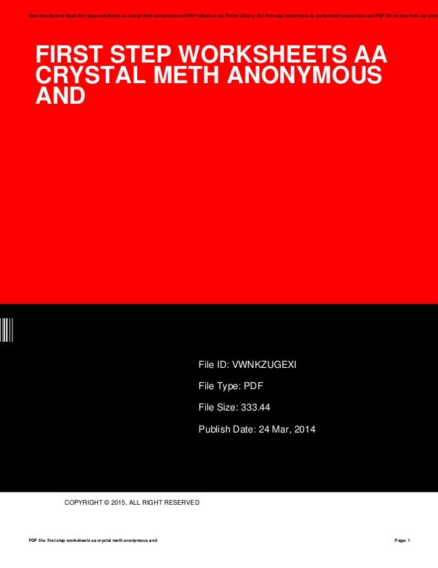 First Step Worksheets Aa Crystal Meth Anonymous And