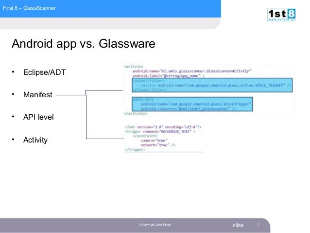 First 8 – GlassScanner slide© Copyright 2006. First8 7 Android app vs. Glassware • Eclipse/ADT • Manifest • API level • Ac...
