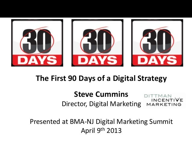 The First 90 Days of a Digital StrategySteve CumminsDirector, Digital MarketingPresented at BMA-NJ Digital Marketing Summi...